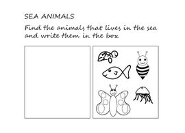 sea english pick animals